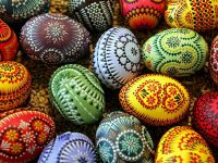 Easter eggs adorned in traditional Sorbian style are seen 11 March 2006 at the Sorbian Easter Egg Market in Bautzen, eastern Germany. Around 40 exhibitors from the eastern German Lausitz region present their skills and products during the annual market taking place always five weeks before Easter. The Sorbs are a small west Slavic people, living as a minority in the German states of Saxony and Brandenburg.    AFP PHOTO    DDP/NORBERT MILLAUER    GERMANY OUT
